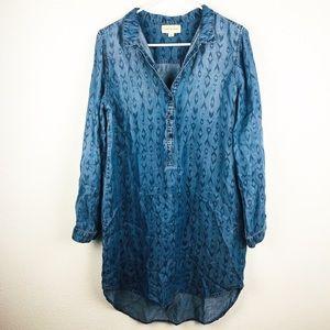 Cloth & Stone | Chambray Denim Tunic Shirt Dress